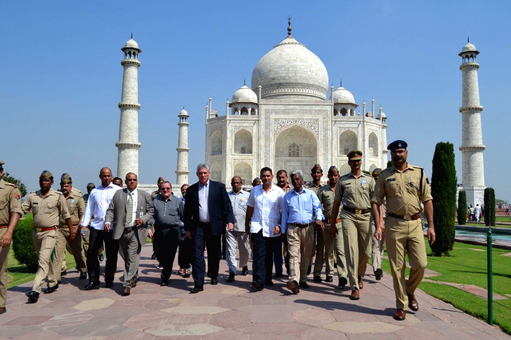 The First Vice President of Republic of Cuba, Miguel Diaz-Canel Bermudez Mario during his visit to the Taj Mahal in Agra, on March 24, 2015.