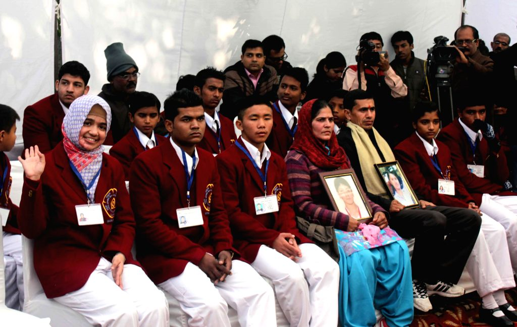 Twenty four children, including eight girls, who will be given National Bravery Awards for the year 2014 during a press conference in New Delhi on Jan. 17, 2015.