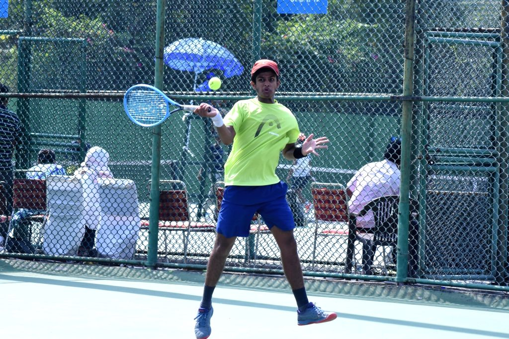 Agriya Yadav in action against Daksh Prasad in Boys U-14 category of the Fenesta Open Junior National Tennis Championship, in New Delhi on Oct 9, 2019. - Agriya Yadav