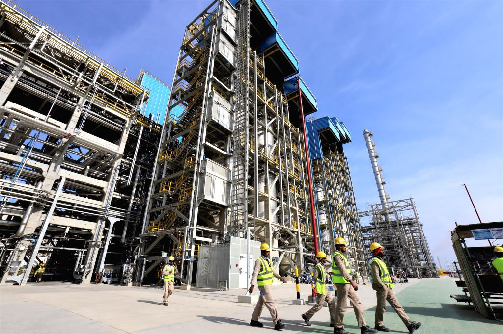 AHMADI GOVERNORATE (KUWAIT), Dec. 13, 2019 Workers are seen at the construction site of Al-Zour New Refinery Project (NRP) in Ahmadi Governorate, Kuwait, on Dec. 12, 2019. Located in the ...
