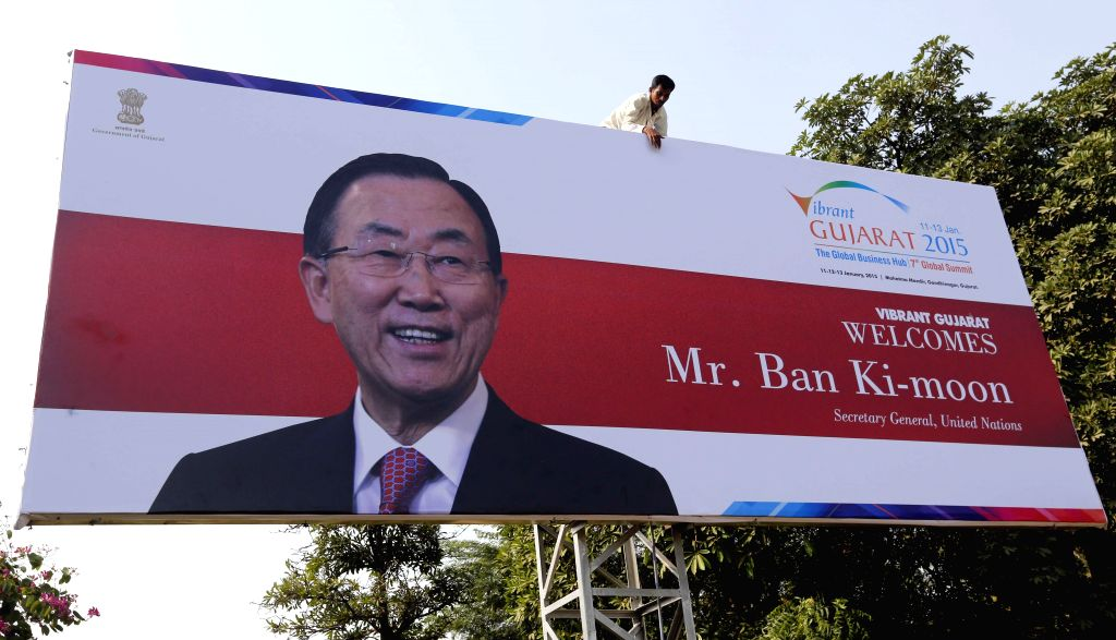 A hoarding of United Nations Secretary General Ban Ki-moon comes up near Sardar Vallabhbhai Patel International Airport ahead of vibrant Gujarat Summit in Ahmedabad, on Dec 23, 2014.