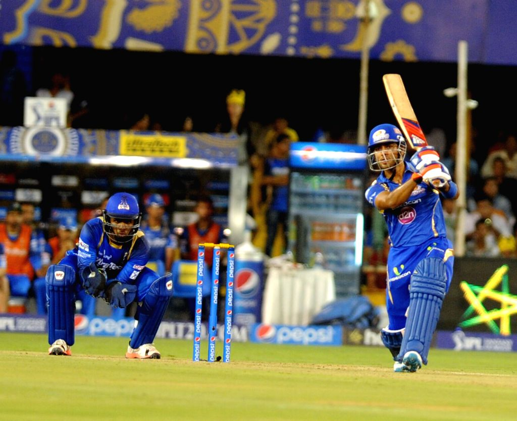 A Mumbai Indians batsman in action during an IPL-2015 match between Rajasthan Royals and Mumbai Indians at Sardar Patel Stadium, in Ahmedabad, on April 14, 2015. - Sardar Patel Stadium