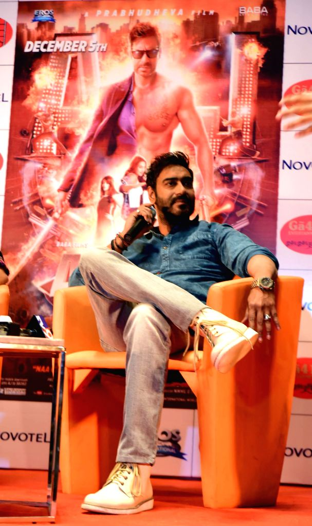 Actor Ajay Devgan during a press conference to promote his upcoming film `Action Jackson` in Ahmedabad on Nov 27, 2014.