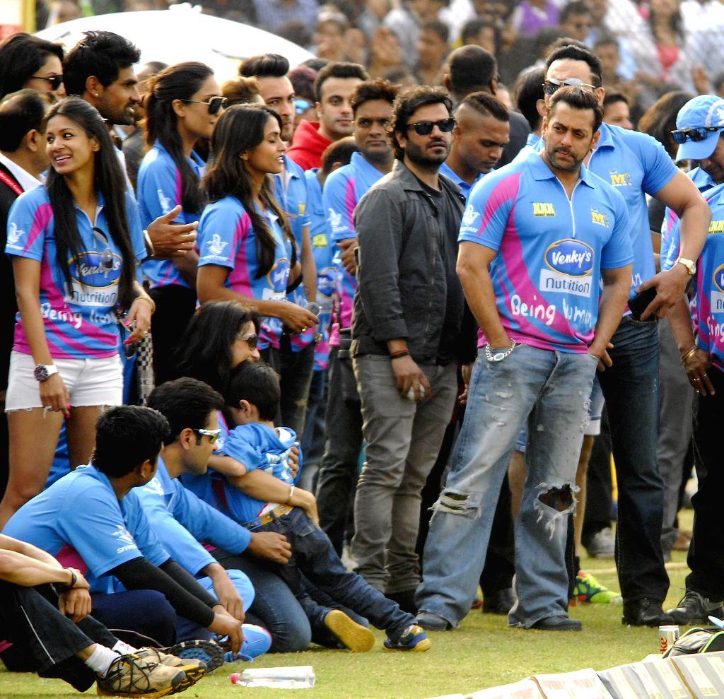 Actor Salman Khan during a CCL match at Sardar Patel Stadium in Ahmedabad, on Jan 25, 2015. - Sardar Patel Stadium