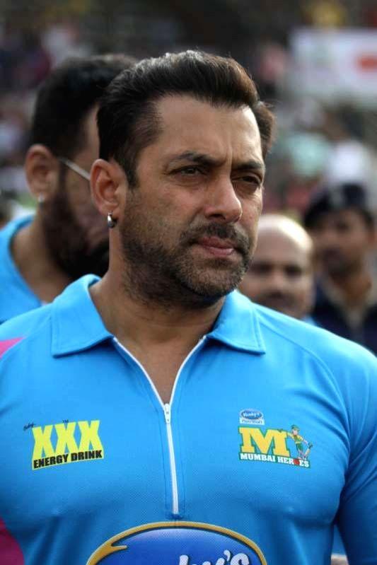 Actor Salman Khan during a CCL match at Sardar Patel Stadium in Ahmedabad, on Jan 25, 2015. - Salman Khan and Sardar Patel Stadium