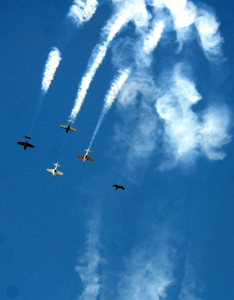 Airplanes demonstrate aerobatics over the Sabarmati river during the Aero Conclave and Air Show organised in Ahmedabad, on April 1, 2015.