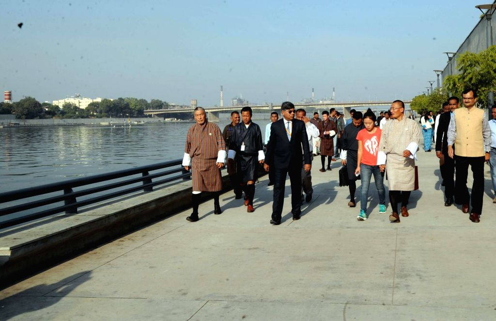 Bhutanese Prime Minister Tshering Tobgay visits the Sabarmati River Front Park in Ahmedabad, on Jan 13, 2015. - Tshering Tobgay