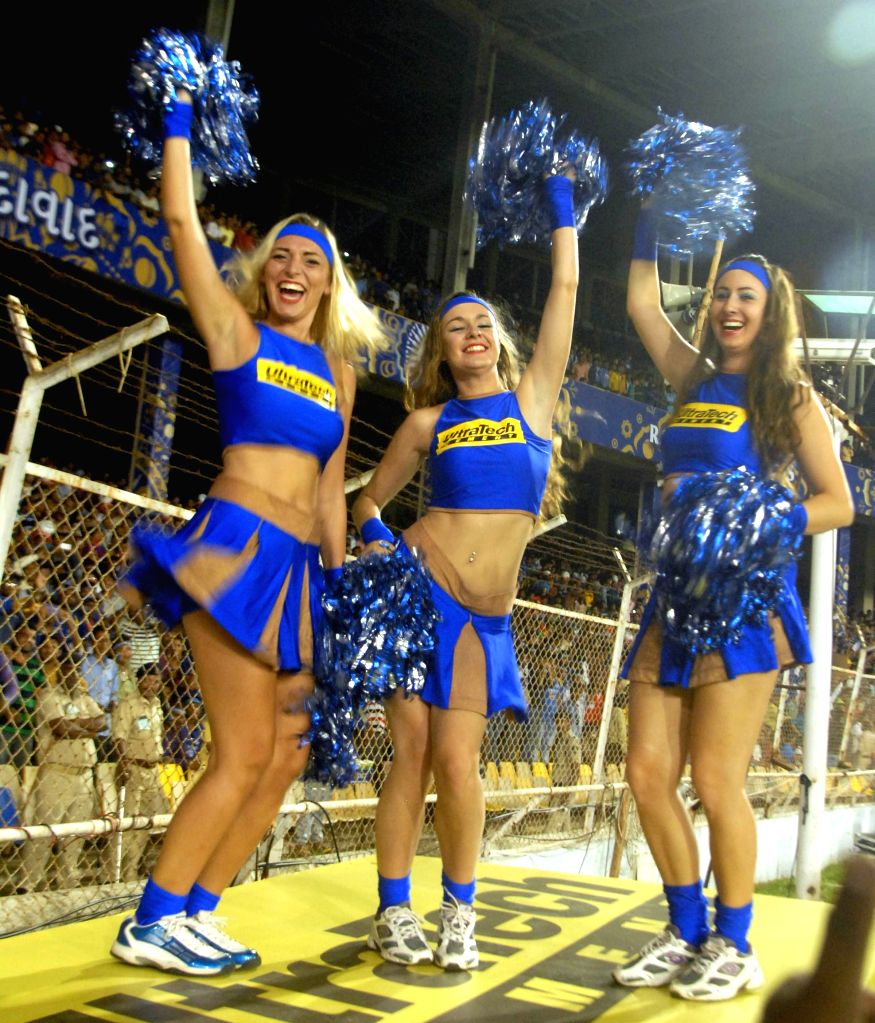 Cheer leaders perform during an IPL-2015 match between Rajasthan Royals and Mumbai Indians at Sardar Patel Stadium, in Ahmedabad, on April 13, 2015. - Sardar Patel Stadium