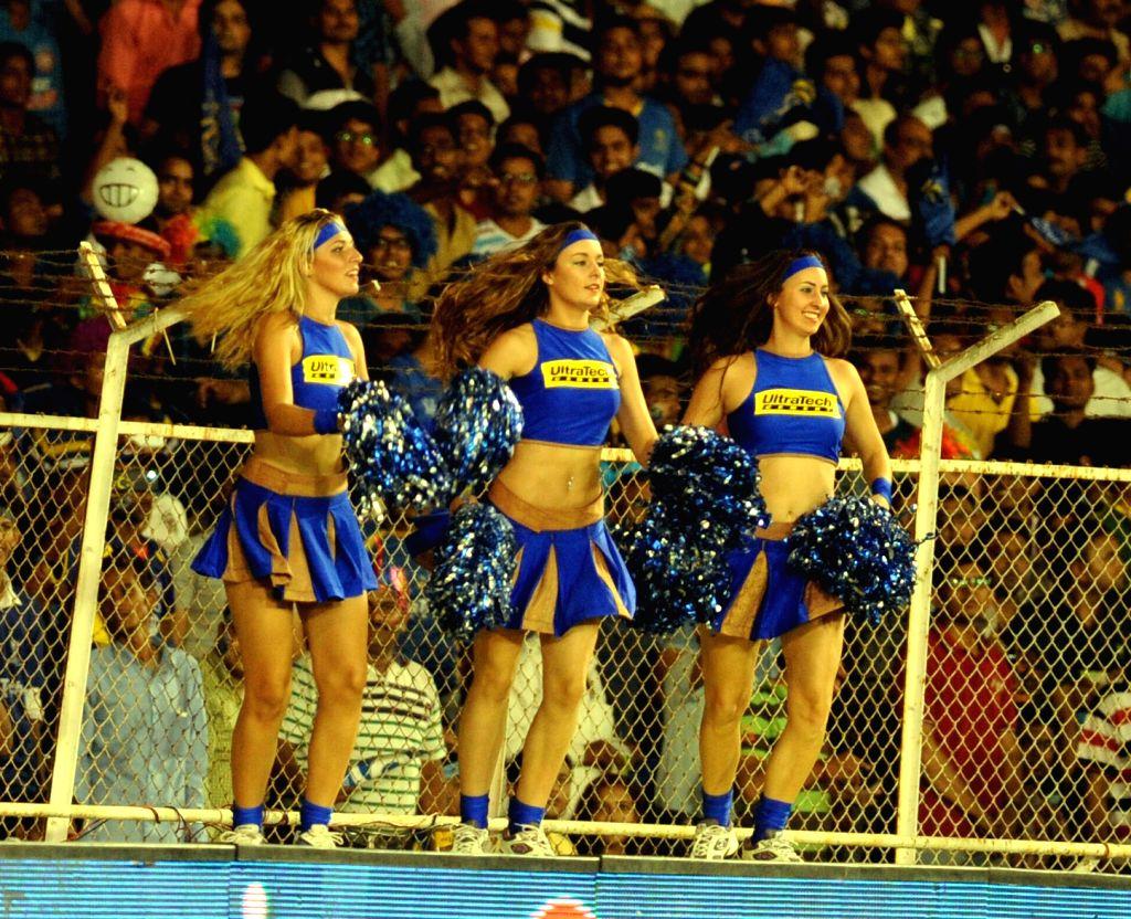 Cheer leaders perform during an IPL-2015 match between Rajasthan Royals and Mumbai Indians at Sardar Patel Stadium, in Ahmedabad, on April 14, 2015. - Sardar Patel Stadium