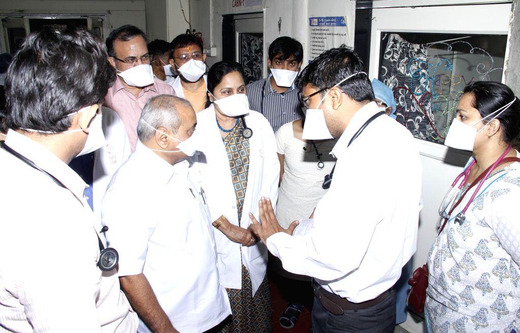 Gujarat Health Minister Nitin Patel visits the swine flu (H1N1) isolation ward of the Ahmedabad Civil Hospital on Feb 7, 2015. - Nitin Patel