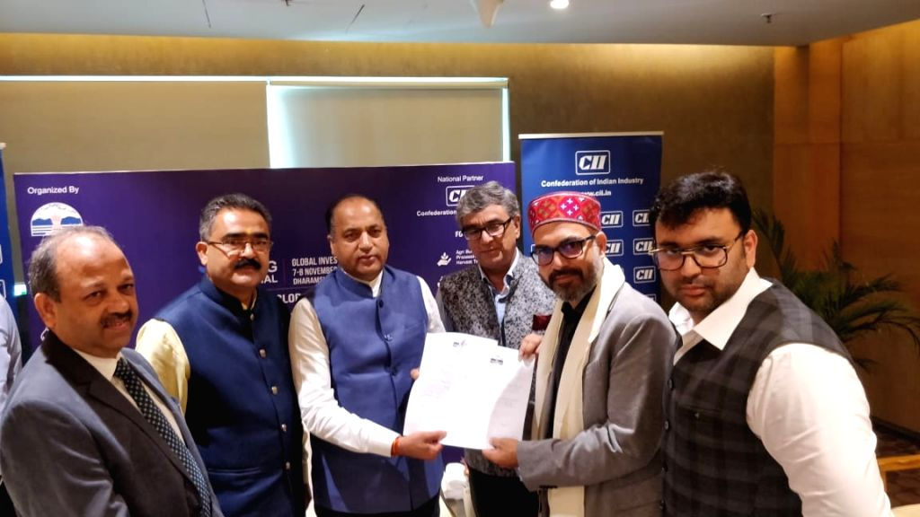 Ahmedabad: Himachal Pradesh Chief Minister Jai Ram Thakur during the signing of MoUs with Gujarat industrial houses during domestic road show and investors meet in Ahmedabad, on July 12, 2019. (Photo: IANS) - Jai Ram Thakur