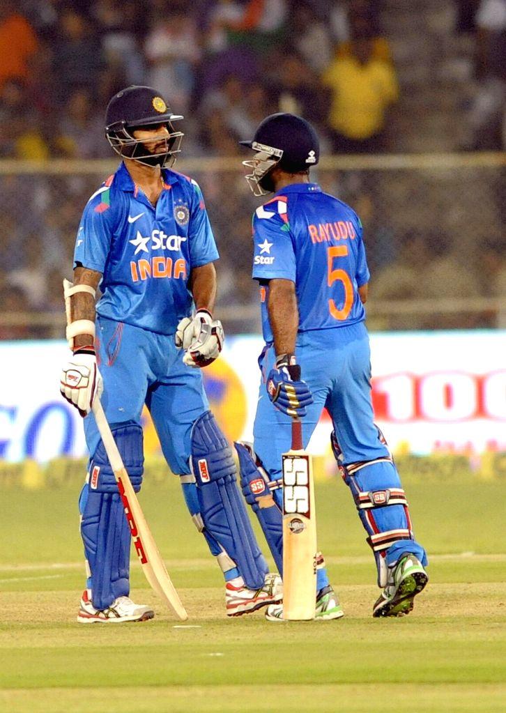 Indian batsmen Ambati Rayudu and Shikhar Dhawan during second ODI match between India and Sri Lanka at Sardar Patel Cricket Stadium in Ahmedabad, on Nov 6, 2014. - Shikhar Dhawan