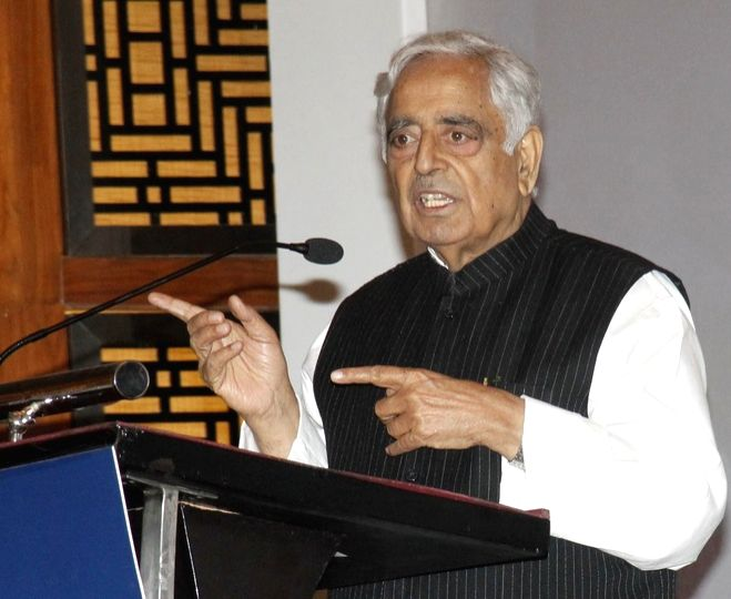 Jammu and Kashmir Chief Minister Mufti Muhammad Sayeed addresses during a programme in Ahmedabad on May 2, 2015. - Mufti Muhammad Sayeed