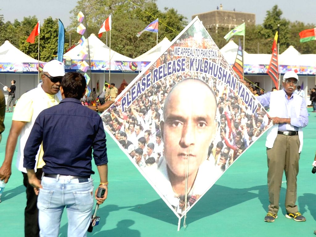 Ahmedabad: Kite enthusiasts appeal Pakistan to release Kulbhushan Jadhav on the first day of the eight-day-long International Kite Festival in Ahmedabad on Jan 7, 2018. Alleged Indian spy Kulbhushan Jadhav was sentenced to death by a Pakistani milita