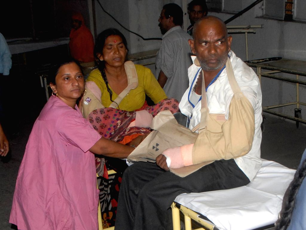 One of the survivors of Nepal bus accident being treated at an Ahmedabad Hospital on April 23, 2015.