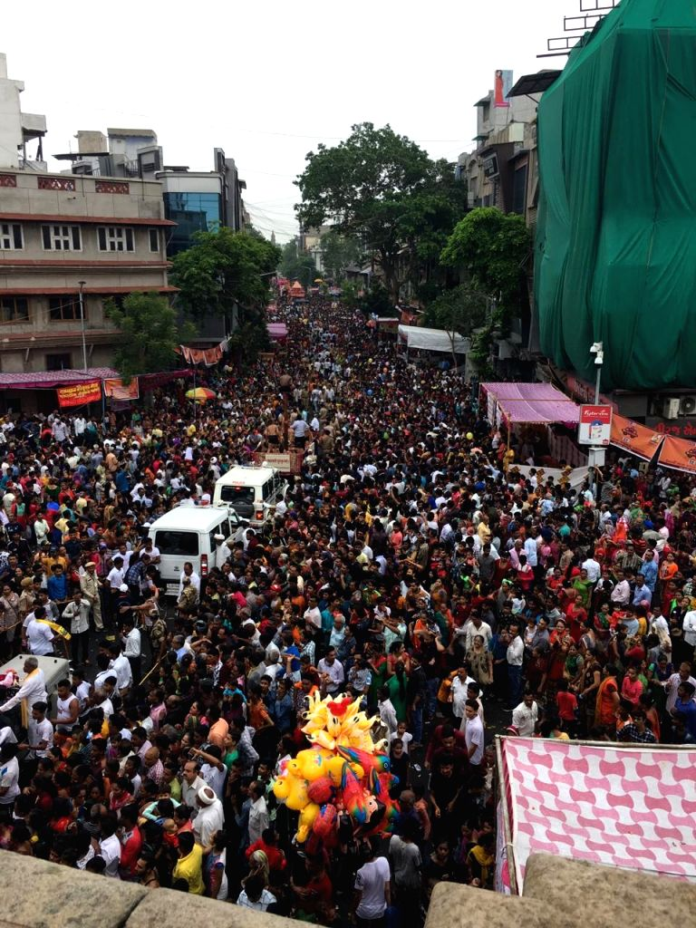 Ahmedabad: People in large numbers participate in Jagannath Rath Yatra in Ahmedabad on July 4, 2019. (Photo: Chhayal Bhatt/IANS)