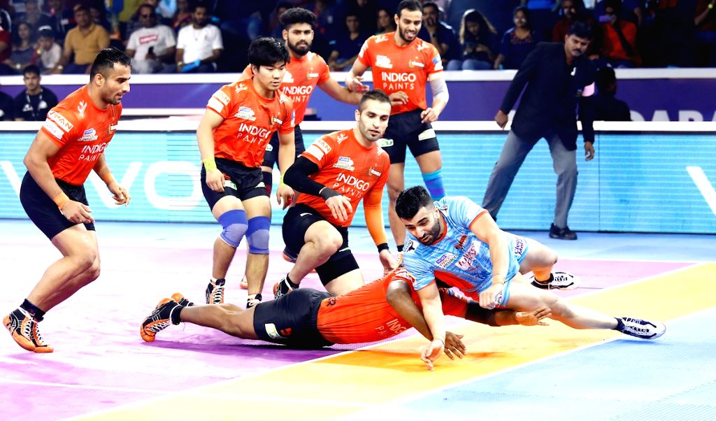 Ahmedabad: Players in action during Pro Kabaddi Season 7 2nd Semi Final match between Bengal Warriors and U Mumba at the EKA Arena by TransStadia in Ahmedabad on Oct 16, 2019. (Photo: IANS)