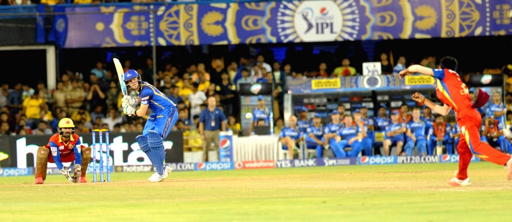 Rajasthan Royals batsman Steven Smith in action during an IPL-2015 match between Royal Challengers Bangalore and Rajasthan Royals at Sardar Patel Stadium, Motera, in Ahmedabad, on April ... - Steven Smith and Sardar Patel Stadium