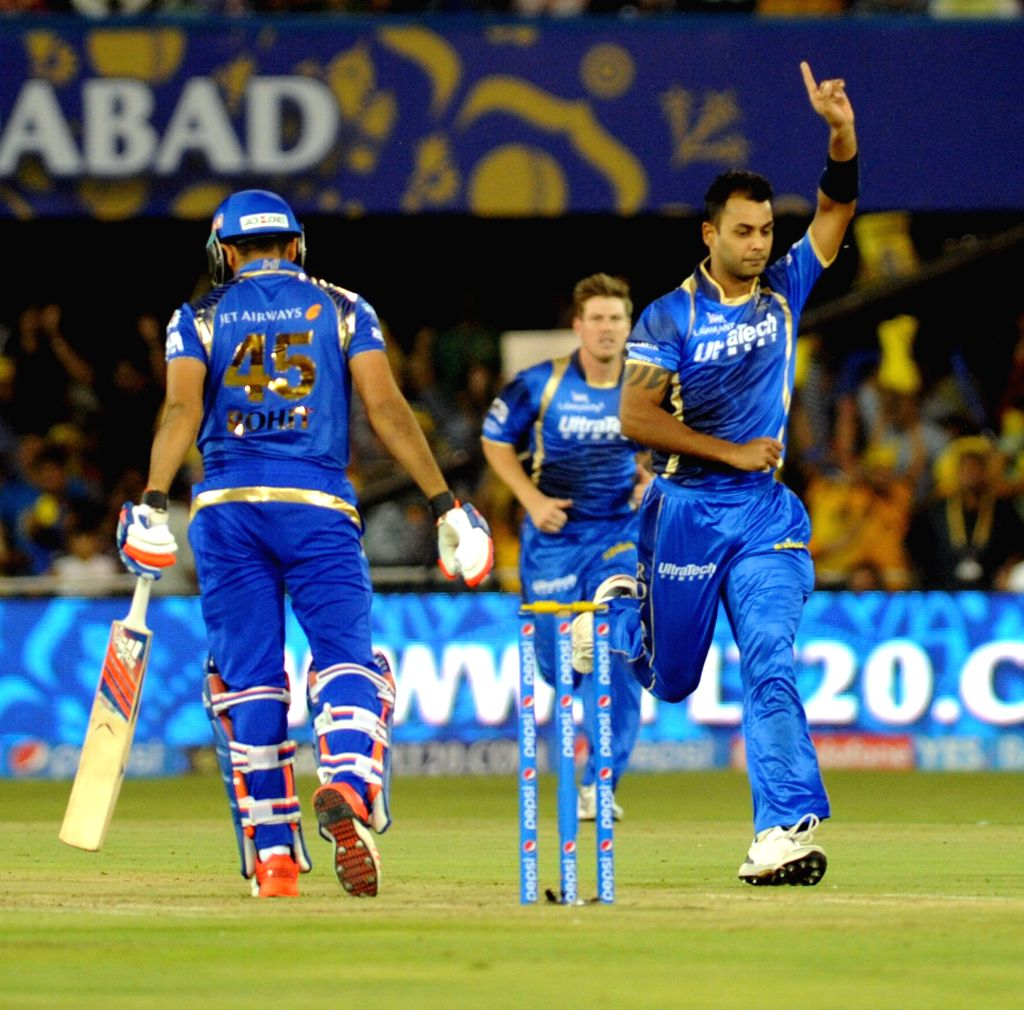 Rajasthan Royals bowler Stuart Binny celebrates fall of Rohit Sharma's wicket during an IPL-2015 match between Rajasthan Royals and Mumbai Indians at Sardar Patel Stadium, in Ahmedabad, on ... - Stuart Binny, Rohit Sharma and Sardar Patel Stadium