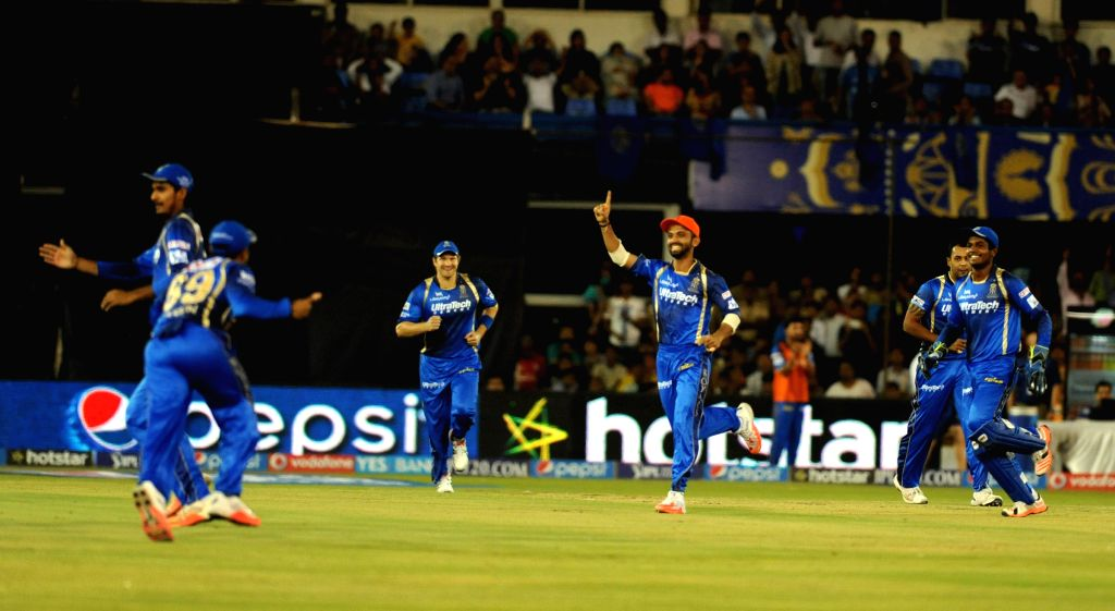 Rajasthan Royals celebrate fall of a wicket during an IPL-2015 match between Rajasthan Royals and Kings XI Punjab at Sardar Patel Stadium, in Ahmedabad, on April 21, 2015. - Sardar Patel Stadium