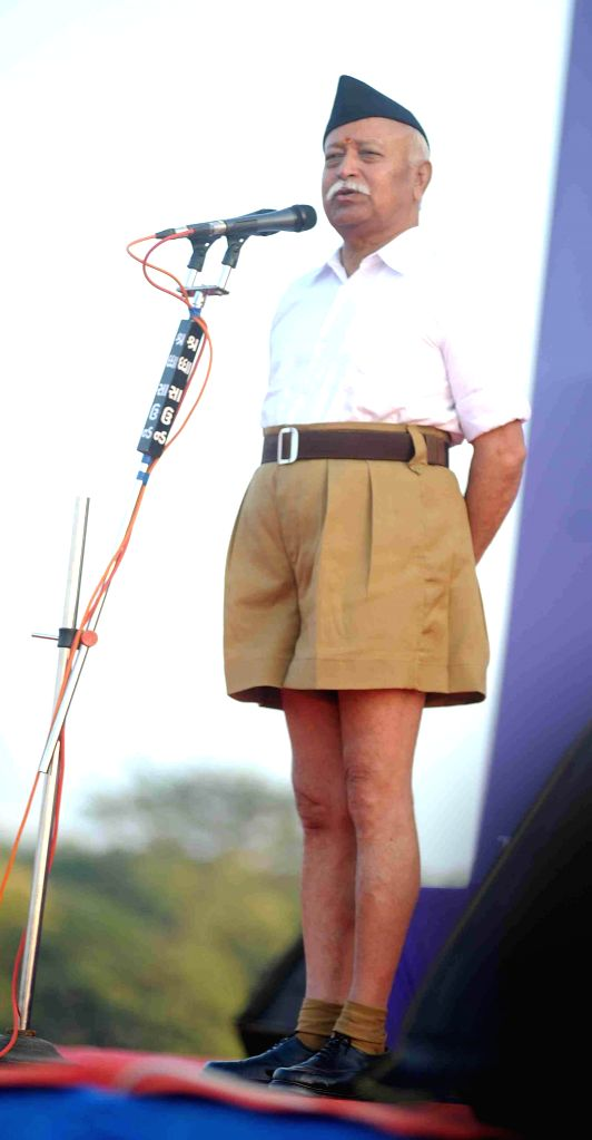 RSS chief Mohan Bhagwat addresses during a programme organised in Ahmedabad, on Jan 4, 2015.