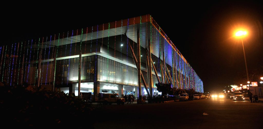 Sardar Vallabhbhai Patel International Airport being decorated to welcome the guests attending the Pravasi Bhartiya Diwas and Vibrant Gujarat Summit in Ahmedabad, on Dec 29, 2014.