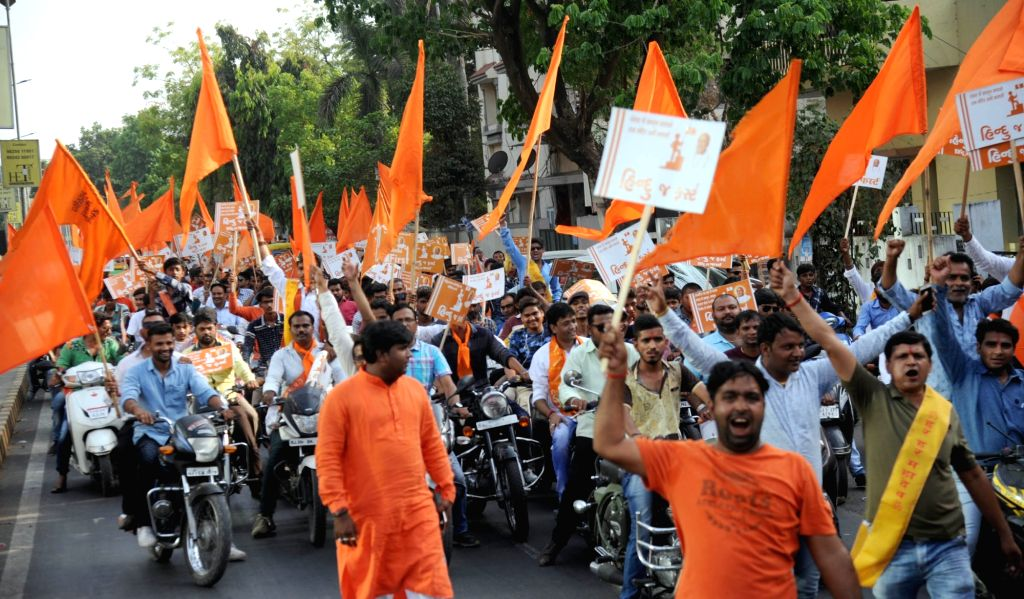 Ahmedabad: VHP activists participate in a procession organised on Ram Navmi in Ahmedabad on April 5, 2017. (Photo: IANS)