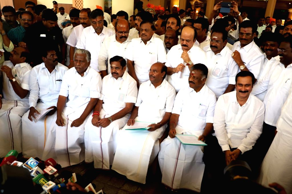 AIADMK Coordinator and Deputy Chief Minister O. Panneerselvam and Joint Coordinator and Chief Minister K. Palaniswami with Pattali Makkal Katchi (PMK) founder S. Ramadoss during a discussion ... - O. Panneerselvam