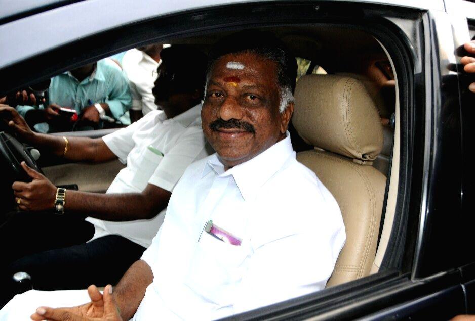 AIADMK leader O. Panneerselvam in Chennai on Aug. 18, 2017.