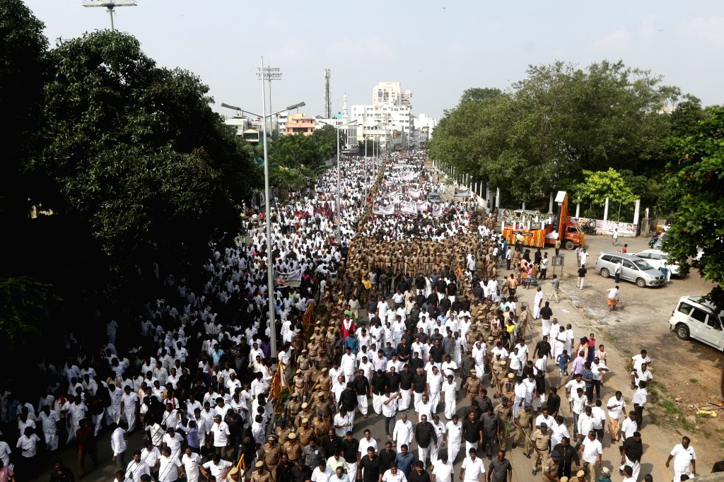 AIADMK leaders including Tamil Nadu Chief Minister Edappadi Palanisamy, Deputy Chief Minister O. Panneerselvam participate in a procession to pay tribute to former late Tamil Nadu Chief ... - Edappadi Palanisamy