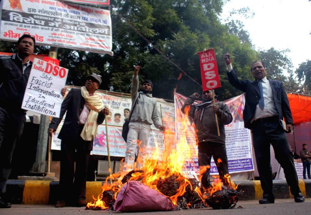 AIDSO activists stage a demonstration against the suicide of Rohith Vemula, a Dalit research scholar of the University of Hyderabad who allegedly hanged himself to death after he was ...