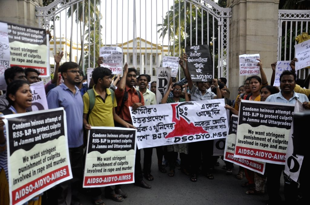 AIDSO activists stage a protest against the Central and the West Bengal Government in front of Raj Bhawan in Kolkata on April 13, 2018.
