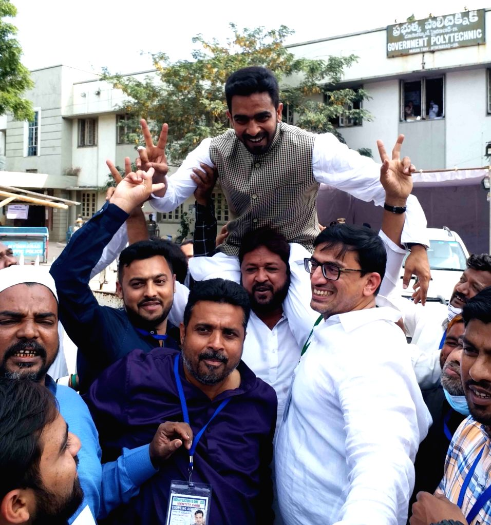 AIMIM candidate Majid Hussain celebrates after winning from the Mehdipatnam division in the GHMC elections, in Hyderabad on Dec 4, 2020.