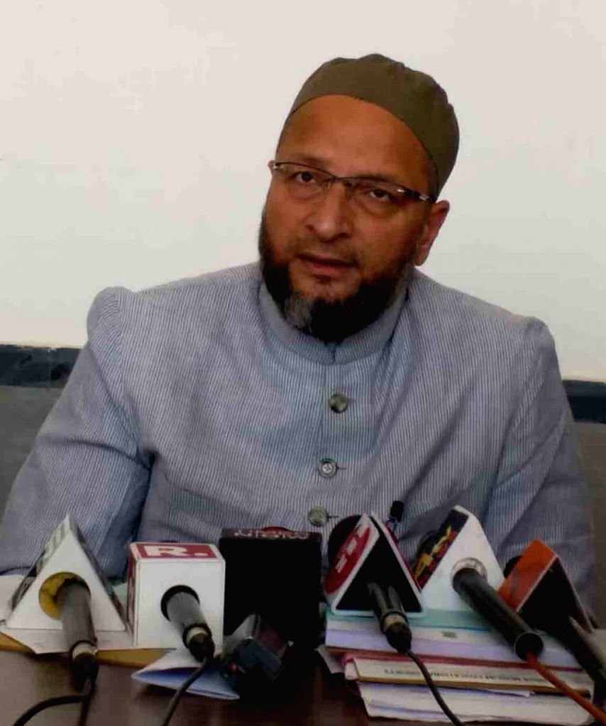 AIMIM chief Asaduddin Owaisi addresses a press conference n Hyderabad on Oct 31, 2018.