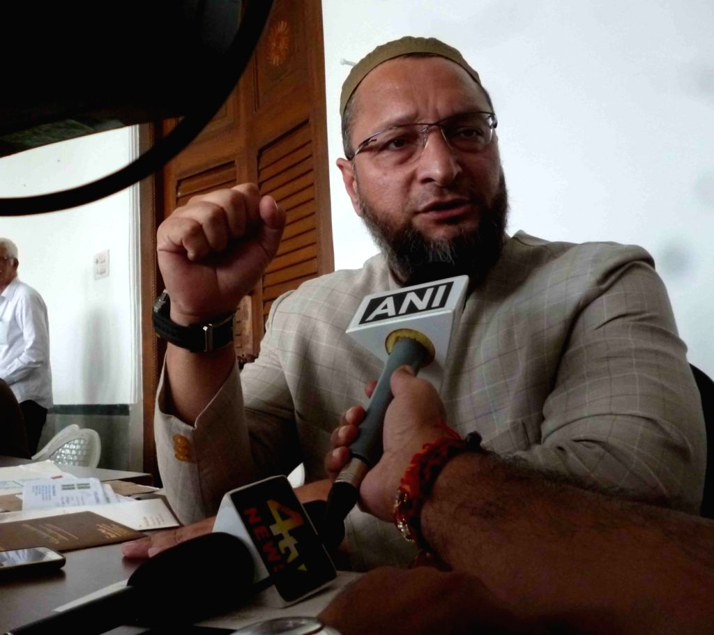 AIMIM chief Asaduddin Owaisi during a press conference in Hyderabad on Aug 16, 2017.
