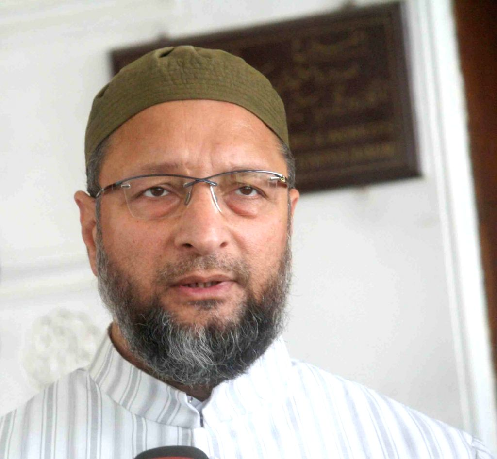 AIMIM leader Asaduddin Owaisi talks to the media, in Hyderabad on Oct 24, 2018.