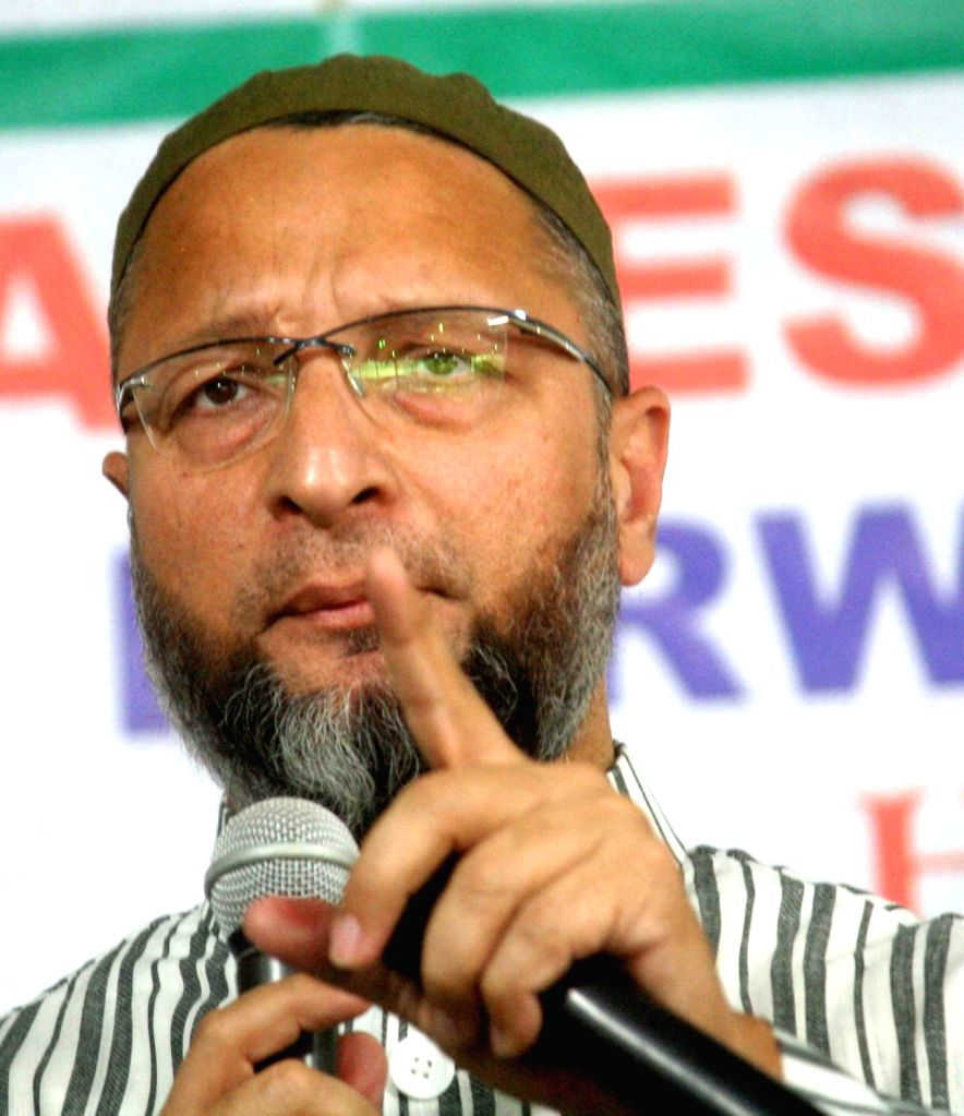 AIMIM leader Asaduddin Owaisi talks to the media, in Hyderabad on Oct 29, 2018.