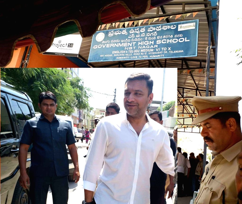 AIMIM MLA Akbaruddin Owaisi arrives to cast his vote for the 2019 Lok Sabha elections in Hyderabad, on April 11, 2019.