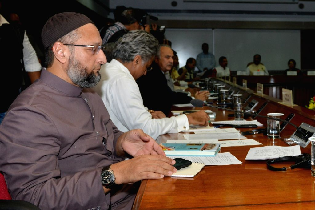AIMIM MP Asaduddin Owaisi during attend an all-party meeting chaired by Lok Sabha Speaker Om Birla ahead of the Winter Session of Parliament, in New Delhi on Nov 16, 2019. - O