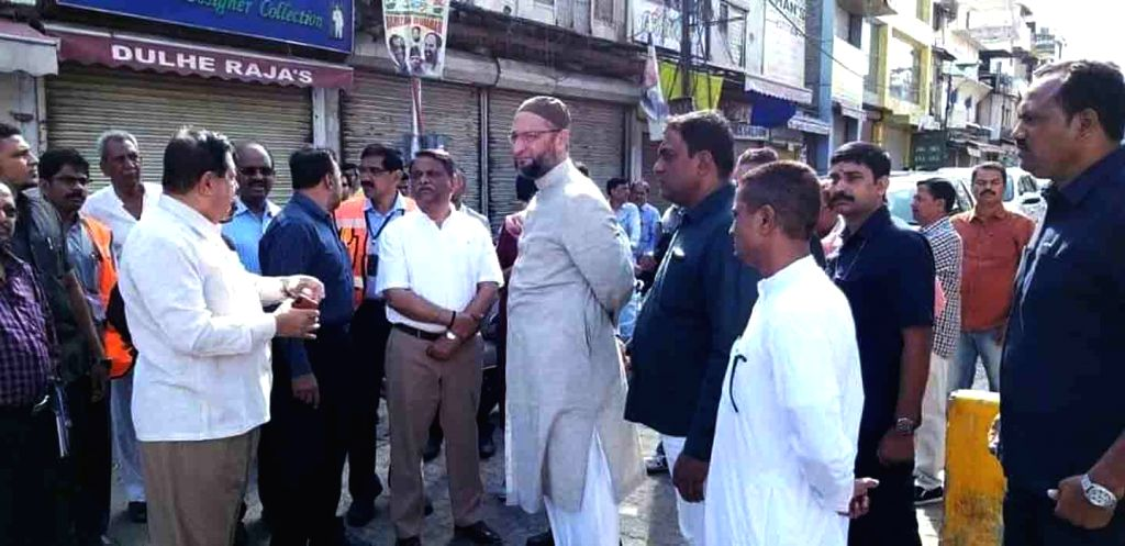 AIMIM President and Hyderabad MP Asaduddin Owaisi during his visit to Charminar, on June 14, 2019.