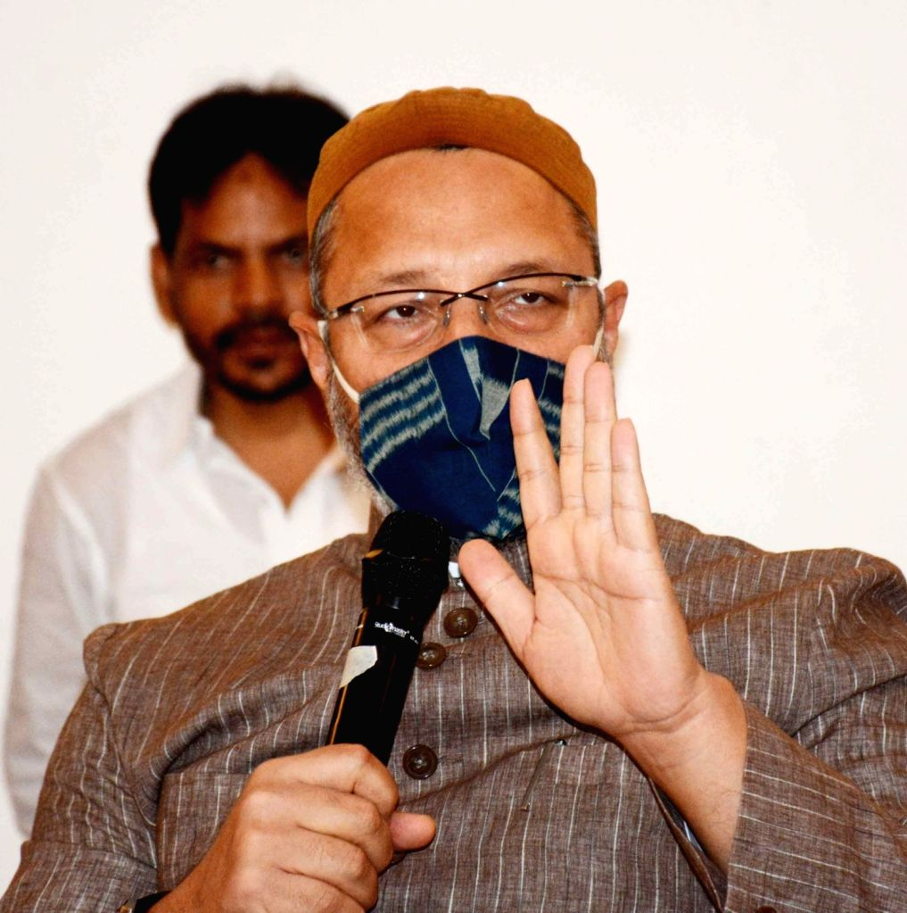 AIMIM President and MP Asaduddin Owaisi addresses a press conferece in Patna on Sep 19, 2020.