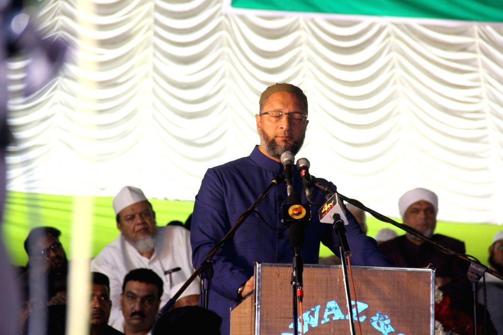 AIMIM President Asaduddin Owaisi addresses a rally in Hyderabad on Dec 13, 2018.