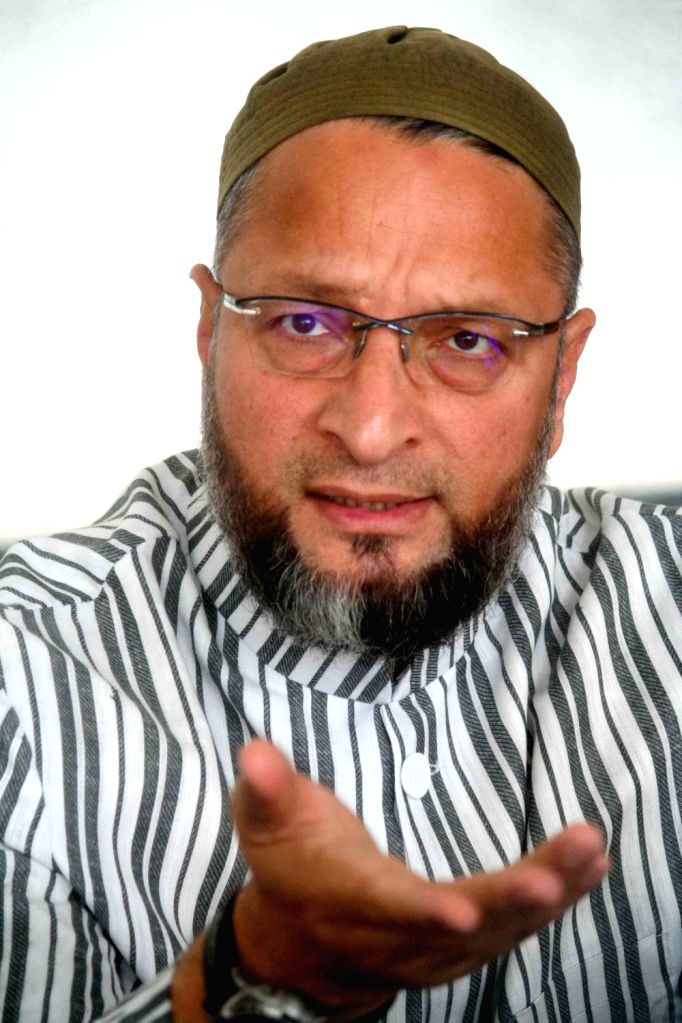 AIMIM President Asaduddin Owaisi addresses a press conference in Hyderabad, on June 1, 2019.
