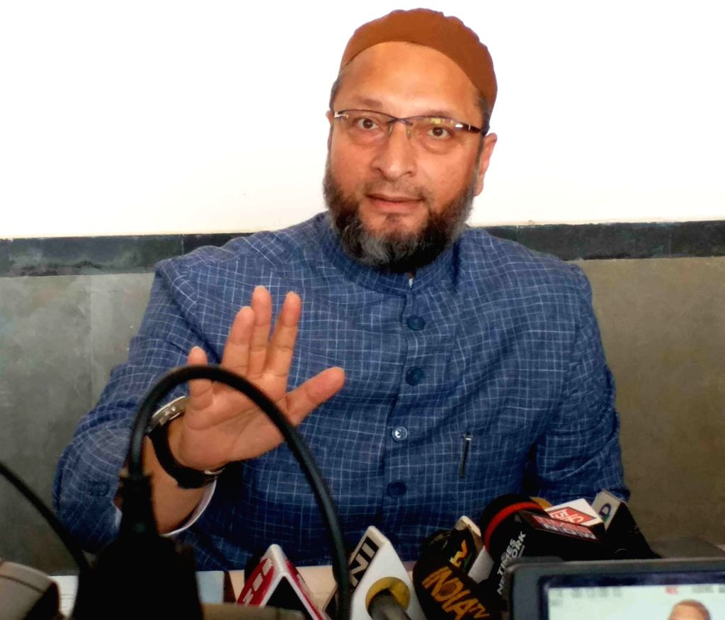 AIMIM President Asaduddin Owaisi addresses a press conference, in  Hyderabad on Sep 4, 2019.