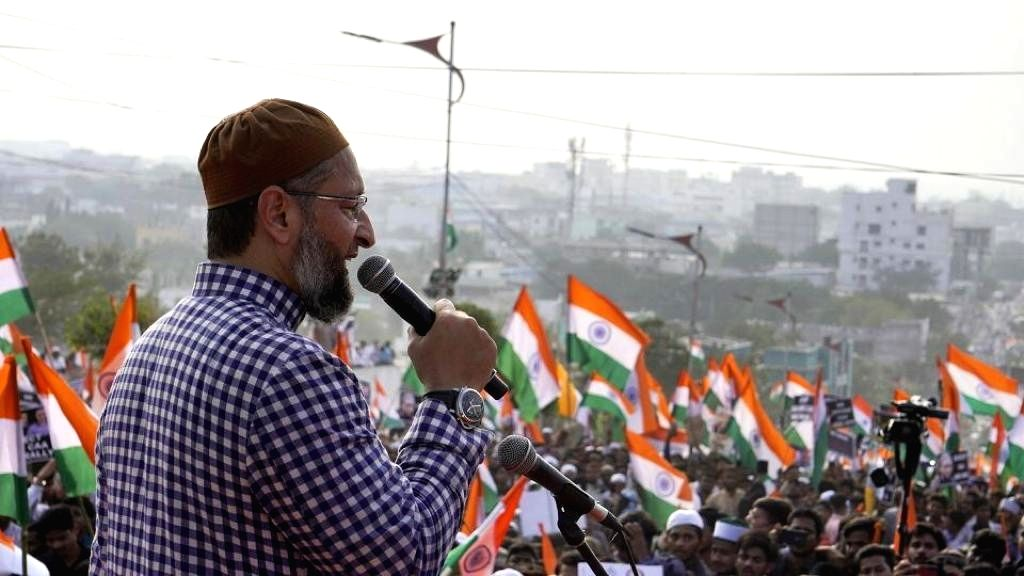 AIMIM President Asaduddin Owaisi addresses a gathering of protesters during the 'Tiranga rally' organised to protest against the Citizenship Amendment Act (CAA) 2019, in Hyderabad on Jan ...
