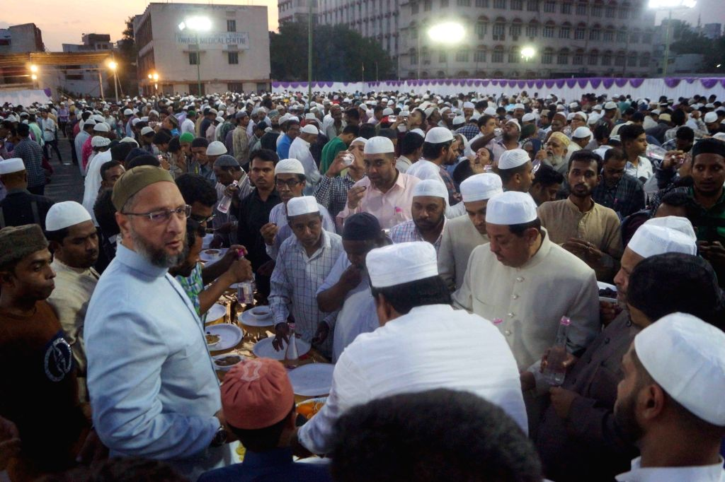 AIMIM President Asaduddin Owaisi during an iftar party hosted by him at the party's headquarters at Darussalam in Hyderabad, on June 4, 2019.
