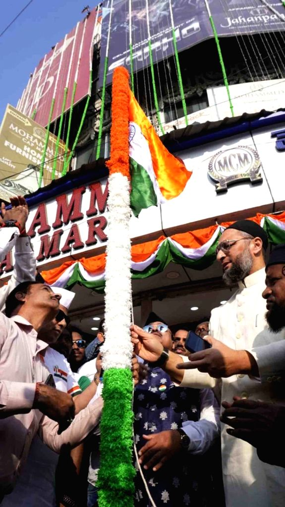 AIMIM President Asaduddin Owaisi hoists the tricolor on the occasion of India's 71st Republic Day, in Hyderabad on Jan 26, 2020.