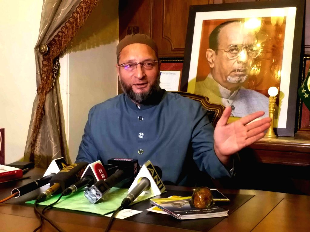 AIMIM President Asaduddin Owaisi talks to the media persons at Darus Salam in Hyderabad, on Aug 27, 2019.