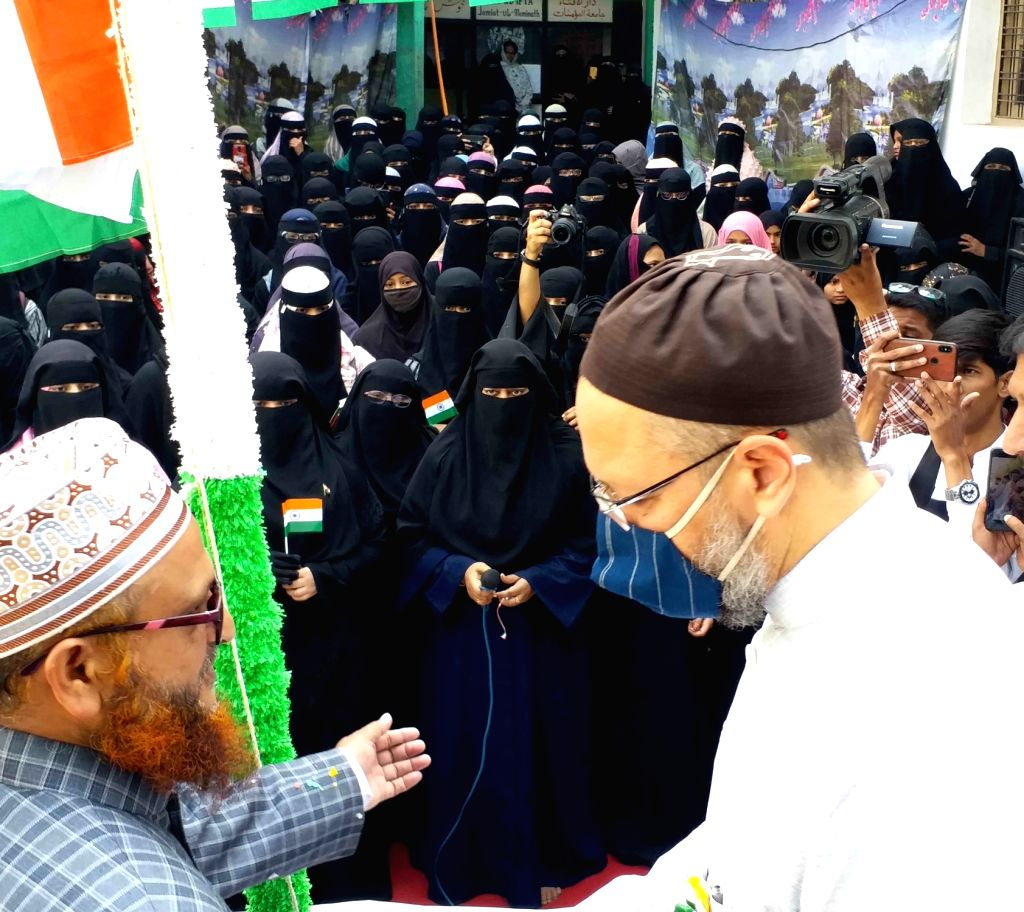 AIMIM President Asaduddin Owaisi unfurls the National Flag in Hyderabad on 72nd Republic Day celebrations, 26th January 2021