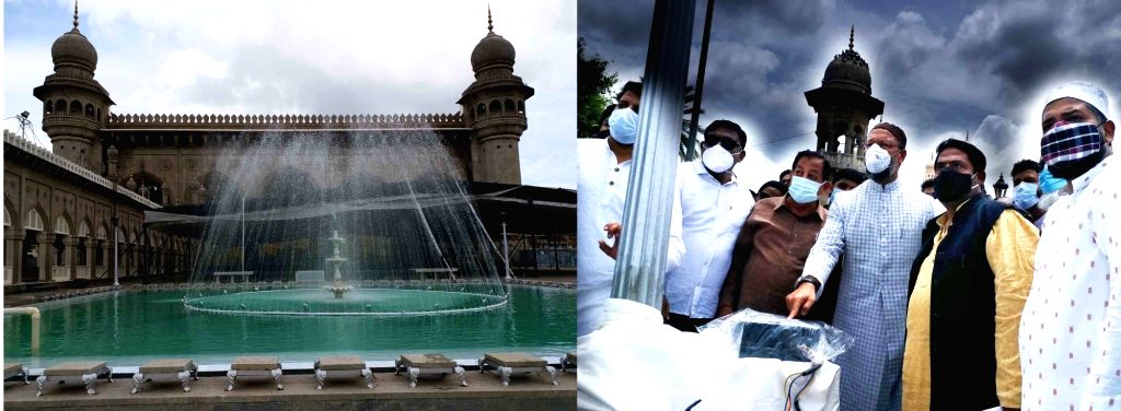 AIMIM supremo and MP Asaduddin Owaisi  Inaugurated  Replacement of Drainage line  Charminar and Macca masjid water sewerage line  and beautification of new Fountains in Hyderabad, on June ...